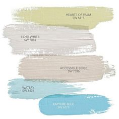 Coastal Paint Colors: Hearts of Palm SW 6415 Sherwin-Williams. Eider White SW 7014 Sherwin-Williams. Accessible Beige SW 7036 Sherwin-Williams. Watery SW 6478 Sherwin-Williams. Rapture Blue SW 6773 Sherwin-Williams. HGTV Home by Sherwin-Williams Coastal Cool collection. Via HGTV.