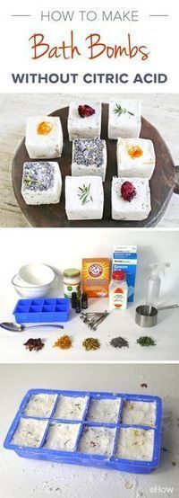 Bath bombs leave your bathwater cleansing & soothing. However, bath bombs can be expensive and include  citric acid that can be harsh on your skin. DIY it using ingredients found at the grocery store, and omit the citric acid. This recipe calls for cream of tartar, which, when combined with baking soda, will give you the same fizzy results! http://www.ehow.com/how_5057845_make-bath-bombs-citric-acid.html?utm_source=pinterest.com&utm_medium=referral&utm_content=freestyle&utm_campaign=fanpage