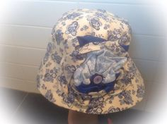 Big, Bold and Beautiful. Wide Brimmed Cotton Sun Hat in Vintage Cream with Blue Flowers. Fabric Flower embellishes the crown. by FleursEnFrance on Etsy