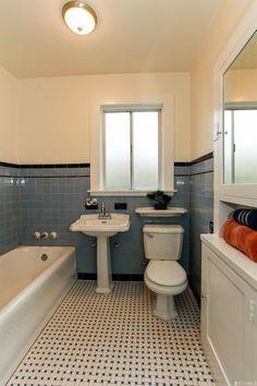 Original 1927 bathroom with basket weave tile. 295 Yerba Buena Ave, San Francisco, CA 94127