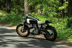 "Road in the forest, Yamaha XJ""Eight Ball"" cafe-racer by gazzz-garage.com"