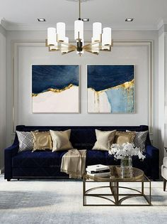 Blue And Gold Living Room, Blue Living Room Decor, New Living Room, Living Room Sofa, Living Room Designs, Living Room Canvas Art, Living Room Artwork, Living Room Pictures, Living Room Inspiration