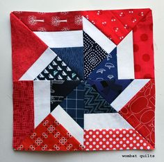 Fireworks Pinwheel Block by Wombat Quilts