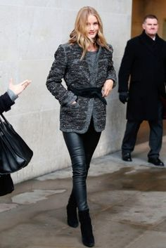 Rosie Huntington-Whiteley wearing Saint Laurent Classic Sac De Jour Leather Tote, Paige Daphne Ankle Zip Leather Trousers, Isabel Marant Sequin-Embellished Wool-Blend Jacket and Isabel Marant Wrap-Around Leather Waist Belt