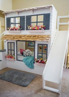 40+ Girl's Bedroom Ideas With An Awesome Play Space Bunk Beds Small Room, Kids Bunk Beds, Small Rooms, Small Spaces, Full Size Bunk Beds, Bunk Beds For Girls Room, Low Loft Beds, Bunk Rooms, Small Bathrooms