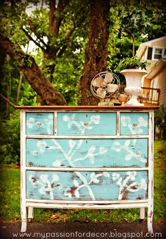 Beautiful dresser by Melody of My Passion for Décor!  She used Chalk Paint® Decorative Paint by Annie Sloan in Provence and Old White.