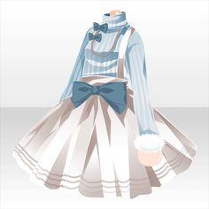Jupe blanche et col roulé en laine avec gros noeud bleu