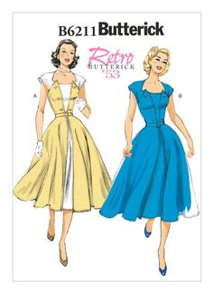 6211 | Butterick Patterns Retro Butterick 1953 Misses' Pullover Wrap Dress and Belt. Sizes 14 thru 22