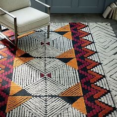 Diamond Motif Wool Rug - Burnt Orange #westelm