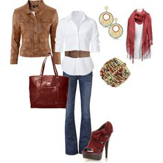 Warm Tones, created by janeilanderson on Polyvore gotta loose the jacket and scarf for casual spring/summer work days.