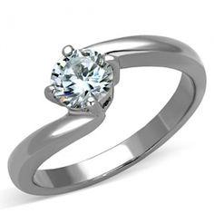 Tara's Stainless Steel AAA Grade Cubic Zirconia Ring