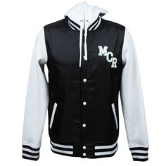 MCR.com exclusive!    This custom varsity inspired jacket features a black nylon body with white fleece sleeves and hood.    MCR logo patch on the front and oversized spider patch on the back are fully embroidered and sewn on.