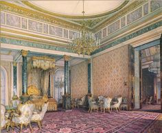 Grand Bedroom in the Grand Kremlin Palace, Konstantin Andreyevich Ukhtomsky Interior Rendering, Interior Sketch, Interior Architecture, Kremlin Palace, Empire Design, London Townhouse, Winter Palace, Fantasy Places, Old World Style