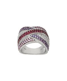Loving this Jewel-Tone Diamonique® & Sterling Silver Crossover Ring on #zulily! #zulilyfinds