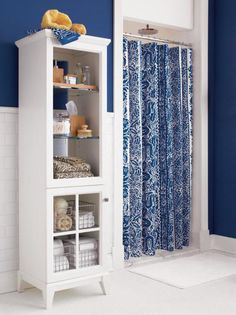Blue Damask Shower Curtain