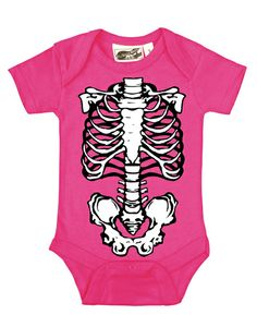 Skeleton Outline Hot Pink, Black & White One Piece