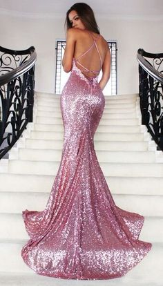 Glamorous V-neck Sweep Train Mermaid Rose Pink Prom Dress with Lace