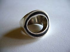 Danish Modernist Sterling + Enamel Ring By Poul Warmind