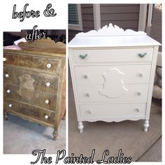 Off white dresser with antique glass knobs. The painted ladies furniture.  Painted with Behr Summer White in satin
