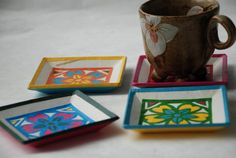 Square Hanji Paper Coasters Traditional Flower Design by HanjiNaty