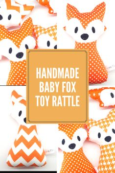 Made with colourful cotton fabrics, felt and quality polyester filling with a rattle insert. Your baby will love the rattle noise. Each fox rattle is handmade with lots of love! #foxes #baby #handmade #babytoys #love #unisex