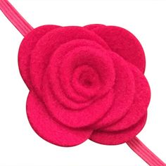 FUN 3-D Felt Rose Skinny Elastic Headband. Perfect for newborn and baby, but can be sized for older girls. Hot Pink