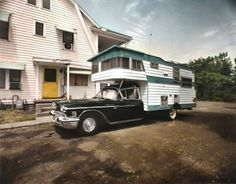 A 1958 Cadillac DeVille Hearse turned into a camper.