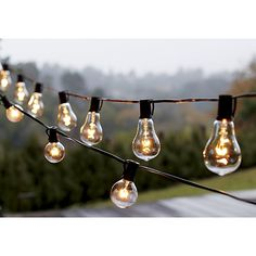 Vintage Edison Bulb Outdoor String Lights | Crate and Barrel Dress your patio with warm look of vintage bulbs. Yesteryear-inspired string lights line up uniquely shaped glass bulbs with exposed filaments inspired by historic Edison bulbs. String up to three strands to decorate indoor or outdoor spaces end to end.