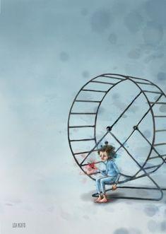 Hvil | Lisa Aisato - nettbutikk Lisa, Whimsical Art, Ferris Wheel, Art For Kids, Fair Grounds, Illustrations, Mood, Children, Drawings