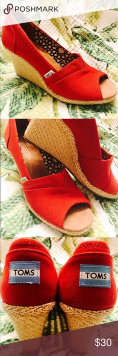 Red Toms- Wedges Never worn outside! Adorable wedge style red Toms. TOMS Shoes Wedges