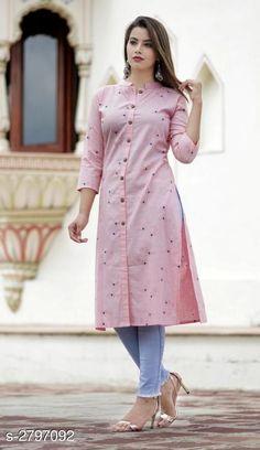 Reliable Pink Self Pattern Cotton Flux Women Kurti New Kurti Designs, Simple Kurta Designs, Churidhar Designs, Kurta Designs Women, Kurti Designs Party Wear, Sleeves Designs For Dresses, Dress Neck Designs, Blouse Designs, Stylish Kurtis Design