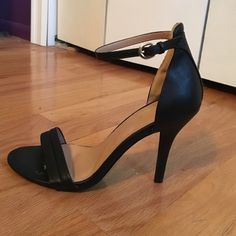 Black strappy heels Soo cute ! Sad to be selling but they don't fit. There is some insert sole tape still stuck to it due to me not wanting my foot to slide to the front. Worn once, perfect condition Go jane Shoes Heels
