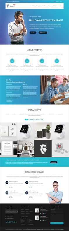 Gazelle is clean and modern design 4in1 responsive #bootstrap template for multipurpose #business website download now..