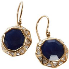 Pre-owned Jade Jagger Sapphire and Diamond Octagon Earrings (633.990 RUB) ❤ liked on Polyvore featuring jewelry, earrings, drop earrings, 18 karat gold jewelry, pandora jewelry, sapphire earrings and white diamond earrings