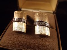 Vintage 14 Karat Yellow Gold Diamond Mens Dress Cufflinks Fine Estate Jewelry
