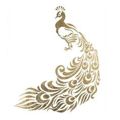 """Majestic and regal are words to describe this lovely gold peacock design. Show off your classy, great taste with this tattoo. Sheet Size: 2.5"""" x 3"""" - Lasts 5-7 days even with swimming and bathing! - E"""