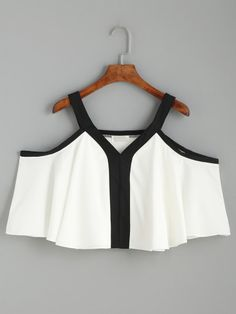 White Contrast Trim Cold Shoulder Top