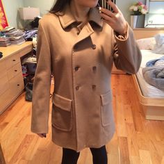 Barneys Co-Op Camel Pea Coat Barneys Co-op cashmere/wool mix peacoat in a beautiful cashmere color. 10%cashmere mixed in for warmth & perfect for fall/spring weather. Double breasted with all buttons intact - worn very carefully. Made in Italy soft, supple fabric! Barneys New York CO-OP Jackets & Coats Pea Coats