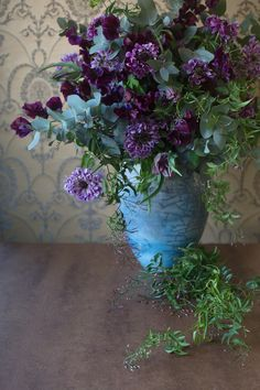 Floral Arrangement - Blue and purple flowers. Blue And Purple Flowers, Green Flowers, Beautiful Flowers, Deco Floral, Arte Floral, Beautiful Flower Arrangements, Floral Arrangements, Flower Farm, Floral Bouquets