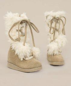 Cream Belinda Boots & Hair Clip - Kids #zulily #zulilyfinds