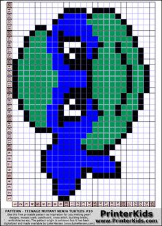 TMNT perler bead pattern (just change colors) Cross Stitch Charts, Cross Stitch Patterns, Pixel Crochet, C2c Crochet, Hama Art, Nerd Crafts, Peler Beads, Crochet Square Patterns, Melting Beads