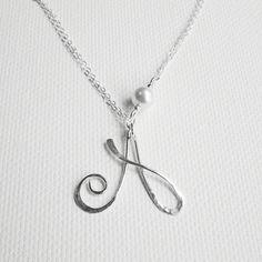 Personalized Pearl Necklace Initial Pearl by BelleAtelierJewelry