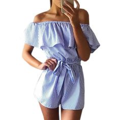 Women Ruffles Neck Playsuit Sexy Jumpsuits Striped Casual Playsuits Slash Beach Overalls with Belts Femme 4 Size