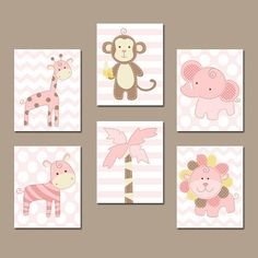 Safari Animals Wall Art Baby Girl Nursery Wall Art by TRMdesign