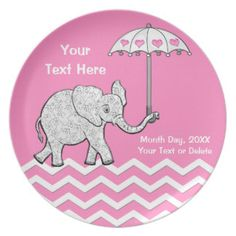 Custom Pink and Gray Elephant Baby Shower Plates