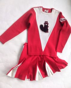 Vtg Cheerleader Sweater and Skirt Beaver Patch Classic Red White Wool Cheerleading Uniforms, Vintage Sweaters, Vintage Ladies, Red And White, Patches, Bell Sleeve Top, Wool, Best Deals, Classic