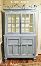 Rustique Restoration: Gorgeous French Country Hutch Makeover blue china cabinet with white old white interior and a white glaze Country Hutch, French Country Dining Room, French Country Kitchens, Country French, Country Blue, French Blue, Hutch Makeover, Furniture Makeover, Hutch Redo