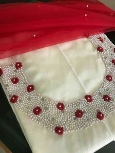 Pearl Embroidery, Embroidery On Kurtis, Hand Embroidery Dress, Kurti Embroidery Design, Embroidery Neck Designs, Hand Embroidery Videos, Bead Embroidery Patterns, Embroidery On Clothes, Embroidery Fashion