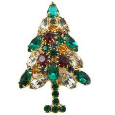 Vintage Bright Rhinestone Christmas Tree Brooch Pin