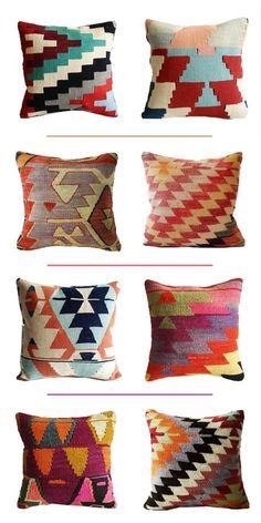 Sukan / Organic Modern Bohemian Throw Pillow. Handwoven Wool Vintage Tribal Turkish Kilim Pillow.